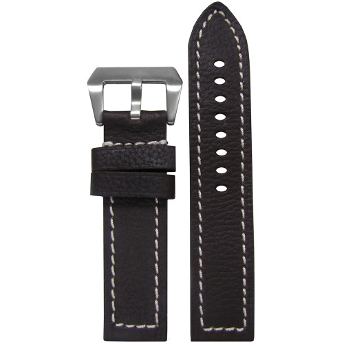 20mm (XXL) Darkest Brown Deep Oil Genuine Leather - Flat, White Stitching | Panatime.com