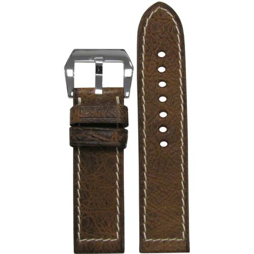 24mm Brown Buffalo Grain Genuine Vintage Leather, Flat - White Hand-Stitching | Panatime.com