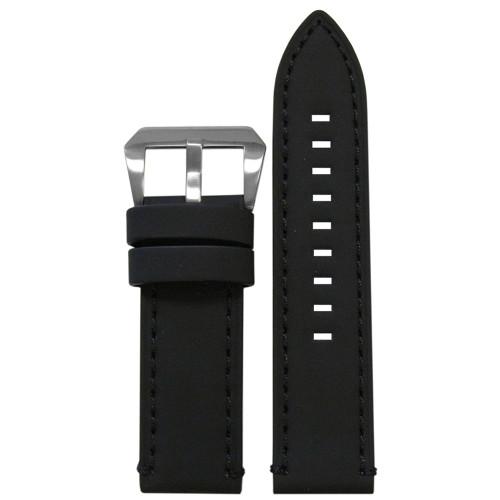 26mm Black Galaxy, Flat - Black Stitching and Edging | Panatime.com