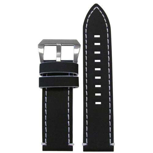 26mm Black Galaxy, Flat - White Stitching and Edging | Panatime.com
