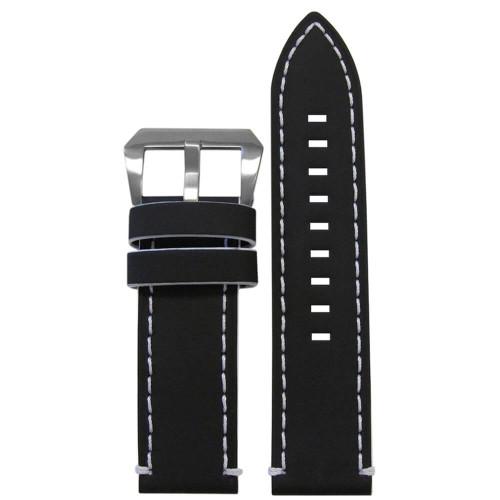 20mm Black Galaxy, Flat - White Stitching and Edging | Panatime.com