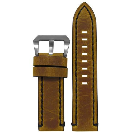 22mm Distressed Vintage Saddle Leather, Flat - Black Stitching | Panatime.com