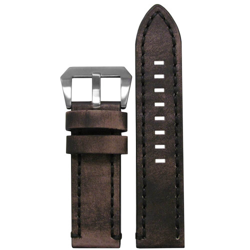 26mm Distressed Grey Vintage Tobacco Leather, Flat - Black Stitching | Panatime.com