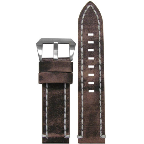 26mm Distressed Grey Vintage Tobacco Leather, Flat - White Stitching | Panatime.com