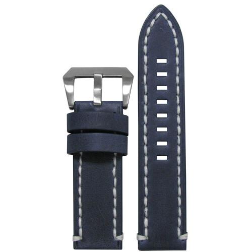 24mm Distressed Denim Leather, Flat - White Stitching | Panatime.com