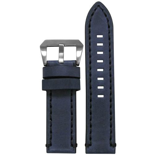 24mm Distressed Denim Leather, Flat - Black Stitching | Panatime.com