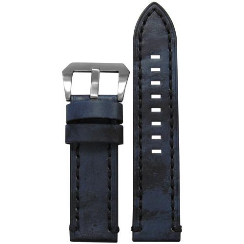 22mm Vintage Denim Leather, Flat - Black Stitching | Panatime.com