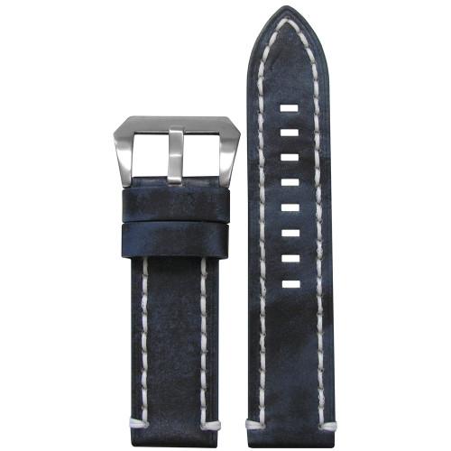 26mm Vintage Denim Leather, Flat - White Stitch ing | Panatime.com