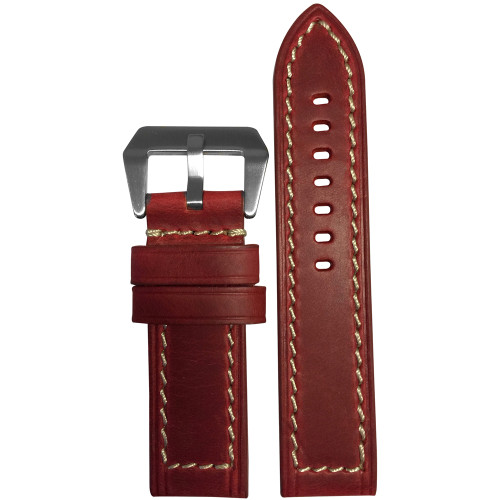 26mm Oxblood Genuine Vintage Leather, Flat - White Stitching | Panatime.com