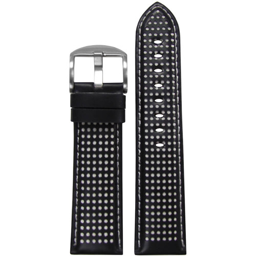 18mm Black Perforated Genuine Leather, Padded - White Holes & Stitching | Panatime.com