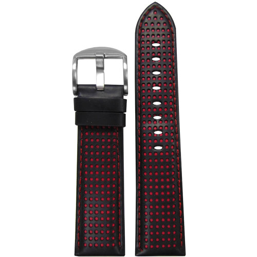 18mm Black Perforated Genuine Leather, Padded - Red Holes & Stitching | Panatime.com
