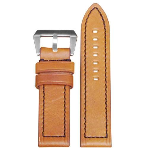 24mm (XL) Light Brown Wax Leather, Flat - Black Stitching   Panatime.com