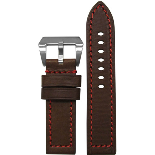 24mm (XL) Brown HZ Genuine Vintage Leather, Flat - Red Stitching | Panatime.com