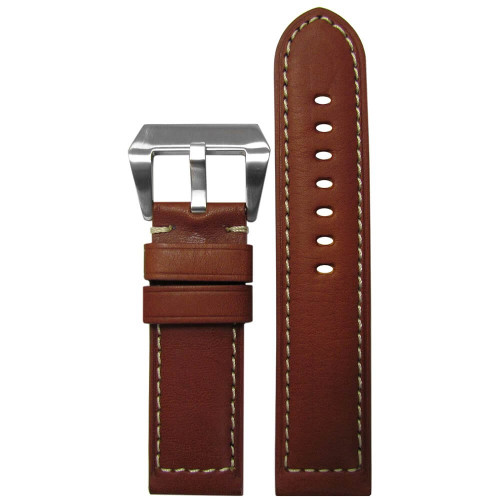 24mm (XL) Rou Classic HZ Vintage Leather - Padded Sport, White Stitching | Panatime.com