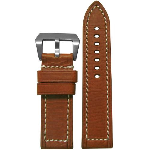 26mm Rou HZ Genuine Vintage Leather, Flat - White Stitching | Panatime.com