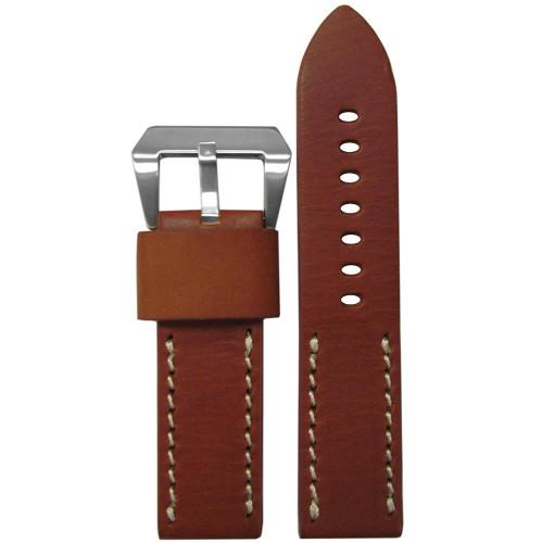 22mm Rou HZ Vintage Leather Half Stitch, Flat -White Stitching   Panatime.com