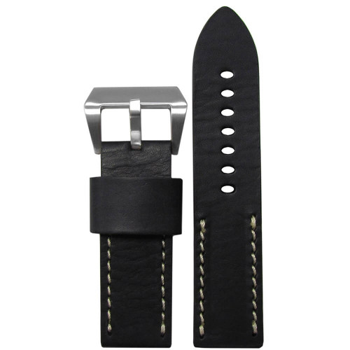 22mm (XL) Black HZ Vintage Leather Half Stitch, Flat - White Stitching | Panatime.com