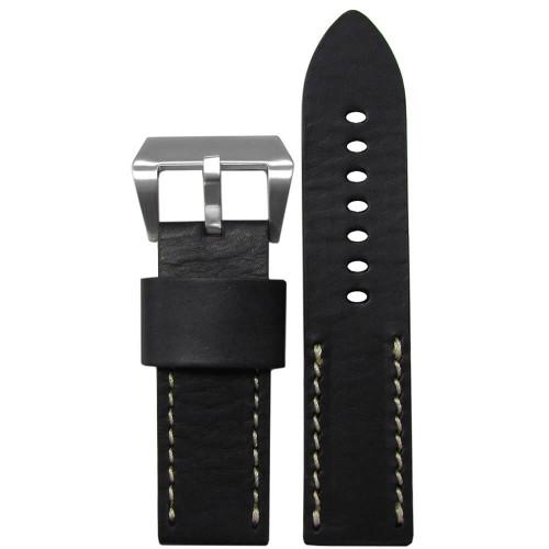 22mm (XL) Black HZ Vintage Leather Half Stitch, Flat - White Stitching | Panatime.com