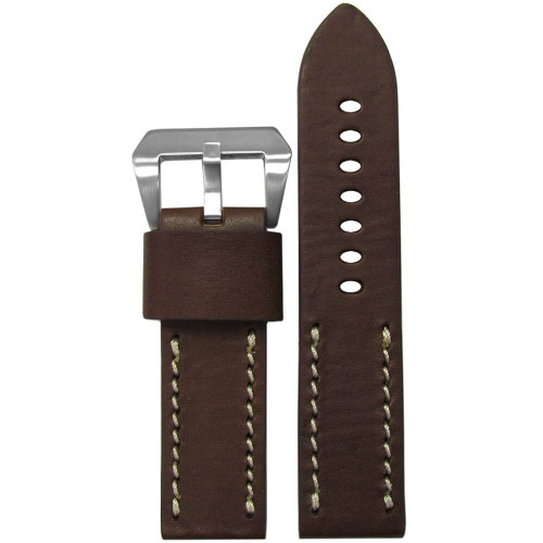 22mm (XL) Dark Brown HZ Vintage Leather Half Stitch, Flat - White Stitching | Panatime.com