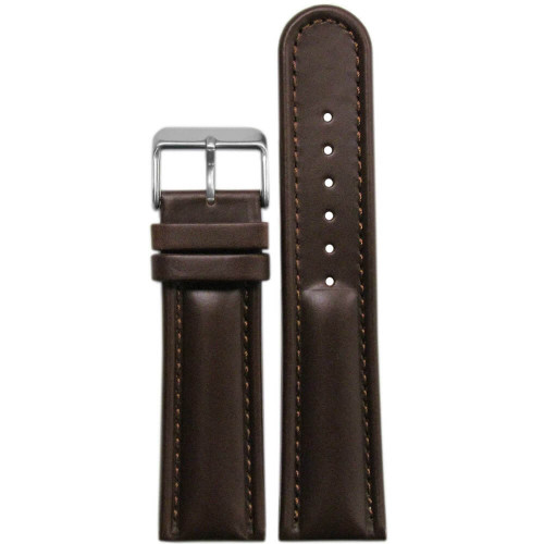 18mm Dark Brown Saddle Leather, Padded - Match Stitching | Panatime.com