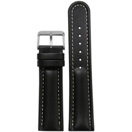 20mm Black Saddle Leather, Padded - White Stitching | Panatime.com