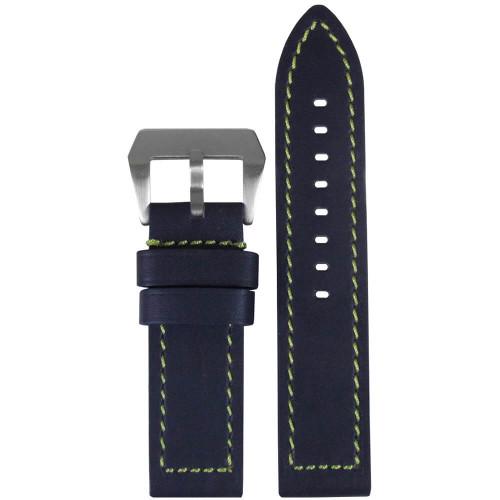 26mm (XXL) Blue Swiss Waterproof Anfibio Leather - Flat, Green Stitching | Panatime.com