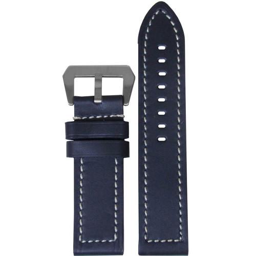 26mm (XXL) Blue Swiss Waterproof Anfibio Leather - Flat, White Stitching | Panatime.com