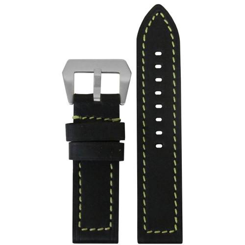 26mm (XXL) Black Swiss Waterproof Anfibio Leather - Flat, Green Stitching | Panatime.com