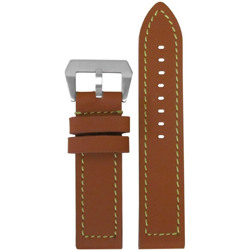 26mm (XXL) Tan Swiss Waterproof Anfibio Leather - Flat, Green Stitching | Panatime.com
