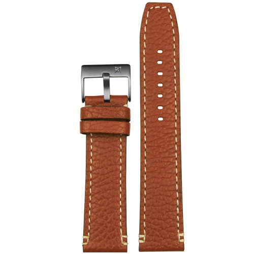 22mm Brown Vintage Viitello Grain - White Stitching | Panatime.com