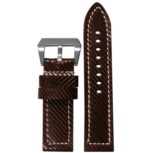 24mm (XXL) Brown Vivola Leather - Flat, White Stitching | Panatime.com