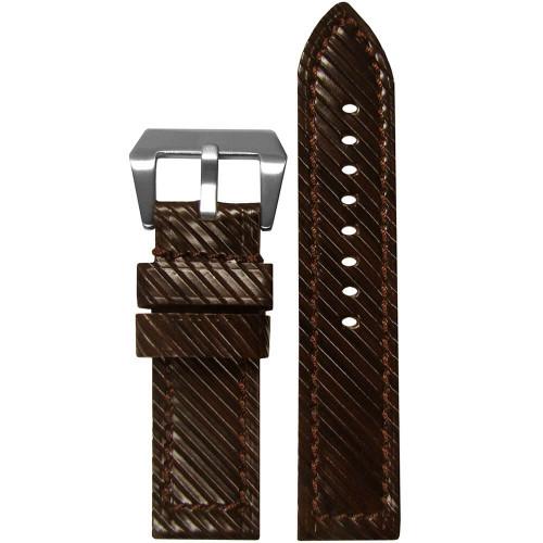 24mm (XXL) Brown Vivola Leather - Flat, Brown Stitching | Panatime.com