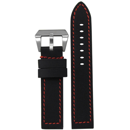 "22mm Black ""KVLR"" Style Water Resistant Leather - Flat, Red Stitching 