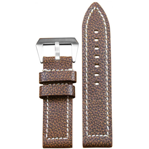 26mm Brown Vintage Buffalo Grain Leather - Flat, White Stitching | Panatime.com