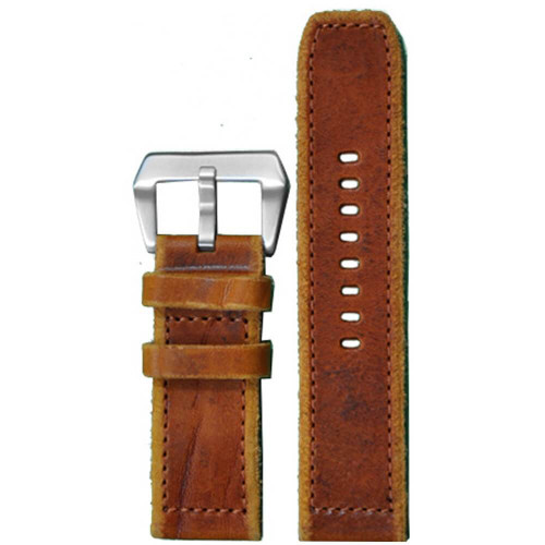 26mm Natural Genuine Vintage Leather - Rough Edges, Match Hand Stitching | Panatime.com