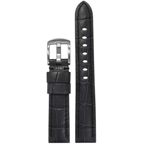 18mm Grey Embossed Leather Gator Print - Padded, Black Stitching   Panatime.com