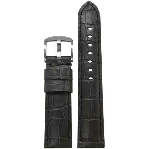 26mm (XL) Grey Embossed Leather Gator Print - Padded, Black Stitching | Panatime.com