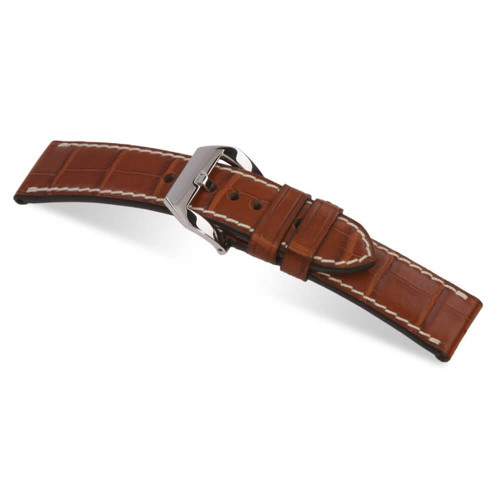 RIOS1931 Cognac Modena Genuine Alligator Watch Strap For Panerai | Panatime.com