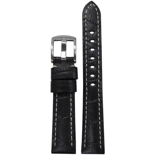 18mm Black Embossed Leather Gator Print - Padded, White Stitching | Panatime.com