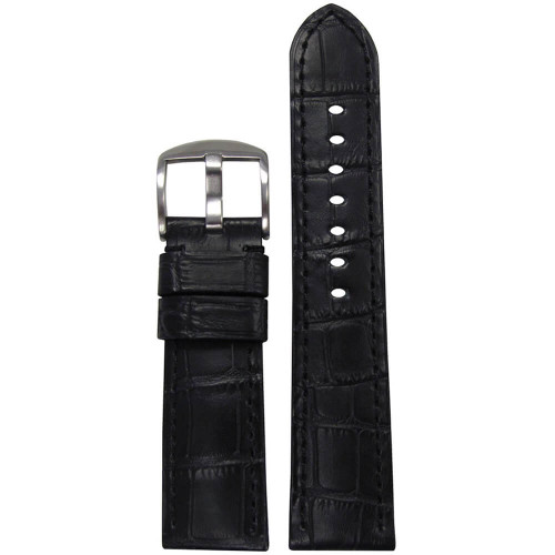 20mm (XL) Black Embossed Leather Gator Print - Padded, Black Stitching | Panatime.com