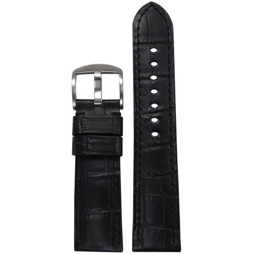 24mm (XL) Black Embossed Leather Gator Print - Padded, Black Stitching | Panatime.com