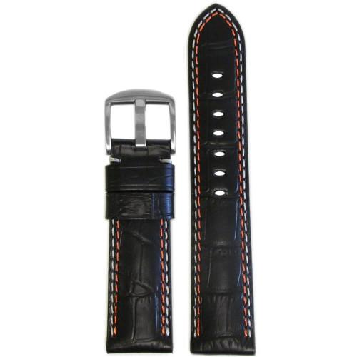 18mm Black Embossed Leather Gator Print - Padded, Orange & White Stitching | Panatime.com