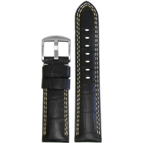 18mm Black Embossed Leather Gator Print - Padded, Yellow & White Stitching | Panatime.com