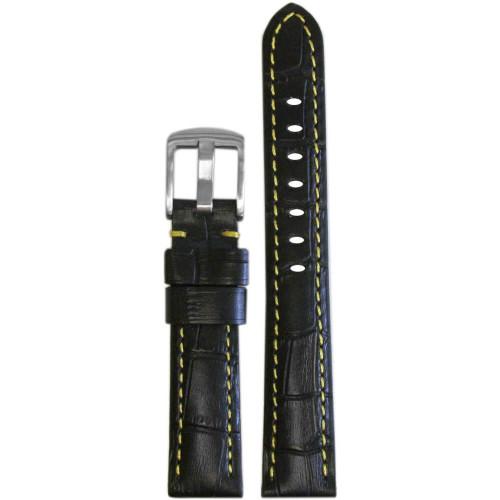 18mm Black Embossed Leather Gator Print - Padded, Yellow Stitching | Panatime.com