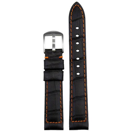 18mm Black Embossed Leather Gator Print - Padded, Orange Stitching | Panatime.com