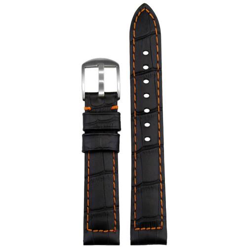 18mm Black Embossed Leather Gator Print - Padded, Orange Stitching | Panatime.com