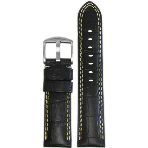 24mm (XL) Black Embossed Leather Gator Print - Padded, Yellow & White Stitching | Panatime.com