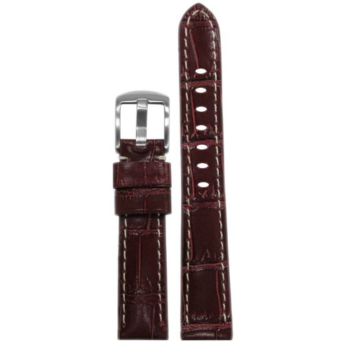 18mm Burgundy Embossed Leather Glossy Gator Print - Padded, White Stitching | Panatime.com