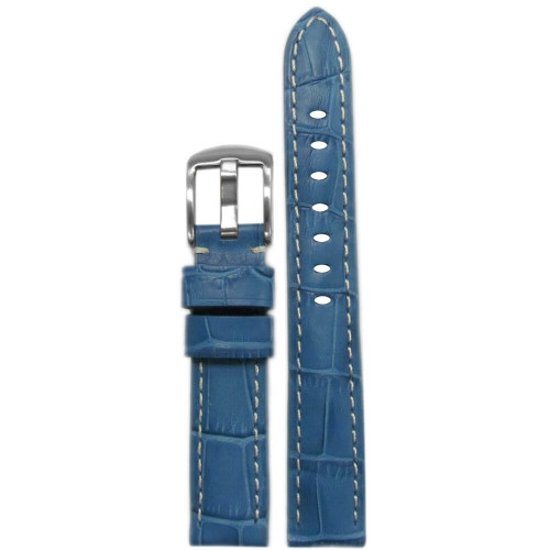 18mm Ocean Blue Embossed Leather Gator Print - Padded, White Stitching | Panatime.com