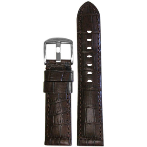 20mm Dark Brown Natural Classic Embossed Leather Gator Print - Padded, Match Stitching | Panatime.com